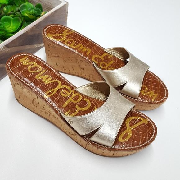 df9b58802610 Sam Edelman Reid Leather Gold Wedge Sandals. M 5a7938519a94550d26125b20